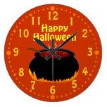 Happy Halloween Bubbling Witch Cauldron Custom Wallclocks