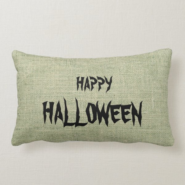 Happy Halloween Burlap Throw Lumbar Pillow