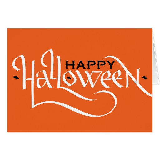 Happy halloween calligraphy greeting card zazzle