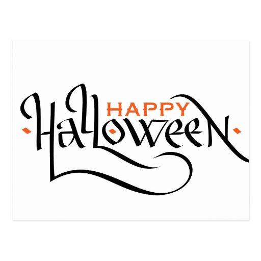 Happy halloween calligraphy greeting card postcard zazzle