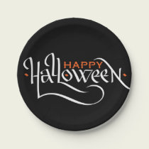 HAPPY HALLOWEEN CALLIGRAPHY   PARTY PAPER PLATES
