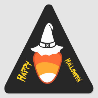 Happy Halloween Candy Corn and Hat V01 Triangle Sticker