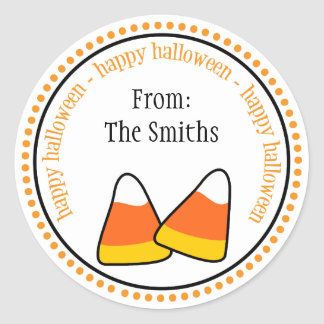 Happy Halloween Candy Corn Dot Circle Labels
