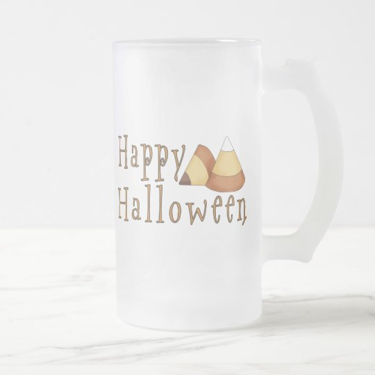 Happy Halloween Candy Corn Frosted Glass Beer Mug