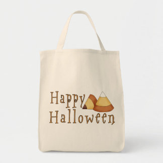 Happy Halloween Candy Corn Grocery Tote Bag