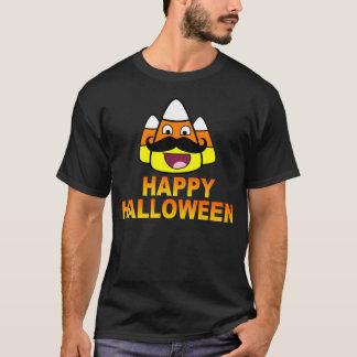 Happy Halloween Candy Corn & Mustache Funny Shirt