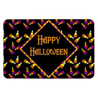 Happy Halloween Candy Corn Pattern on Black Magnet