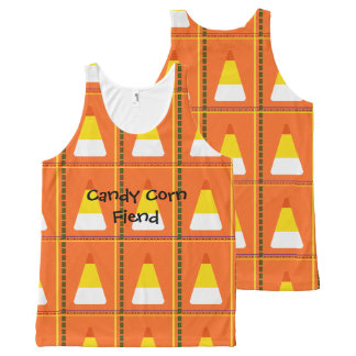 Happy Halloween Candy Corn Plaid All-Over-Print Tank Top