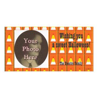 Happy Halloween Candy Corn Plaid Photo Ready Card