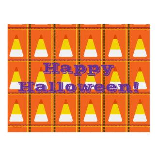 Happy Halloween Candy Corn Plaid Post Card
