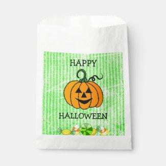 Happy Halloween Candy Corn Pumpkin Favor Bag