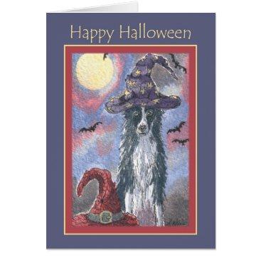Halloween Themed Happy Halloween card, border collie dog wizard Card