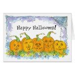 Happy Halloween Card Jack-O-Lanterns Watercolor