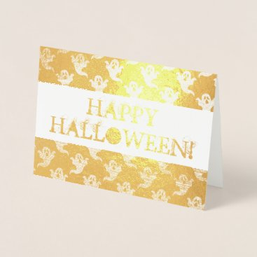 Halloween Themed Happy Halloween Card with Ghost Pattern