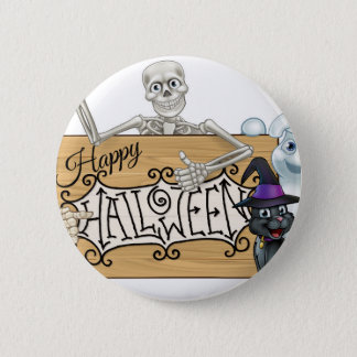 Happy Halloween Cartoon Monsters Sign Background Button