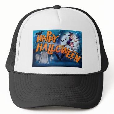 Halloween Themed Happy Halloween Cartoon Witch Sign Trucker Hat