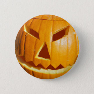 Happy Halloween Carved Pumpkin Face Button