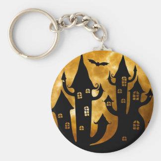 Happy Halloween Castle and Full Moon Keychain