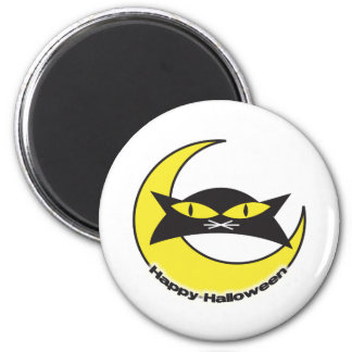 Happy Halloween Cat and Moon design 2 Inch Round Magnet