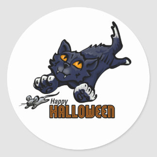 Happy Halloween Cat and Mouse Classic Round Sticker