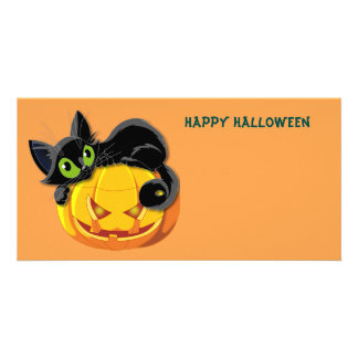 Happy Halloween Cat and Pumpkin Card