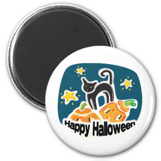 Happy Halloween Cat and Pumpkins 2 Inch Round Magnet