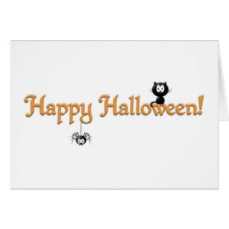 Happy Halloween-Cat and Spider Greeting Card