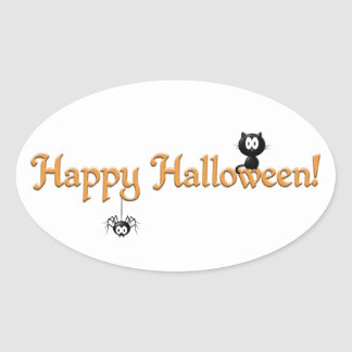 Happy Halloween-Cat and Spider Oval Sticker