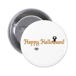 Happy Halloween-Cat and Spider Pinback Button