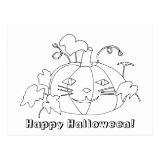 Happy Halloween Cat Face Coloring Postcards