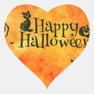 happy halloween cat heart sticker