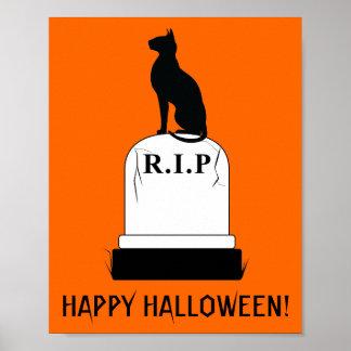 Happy Halloween Cat on Tombstone R.I.P. Poster