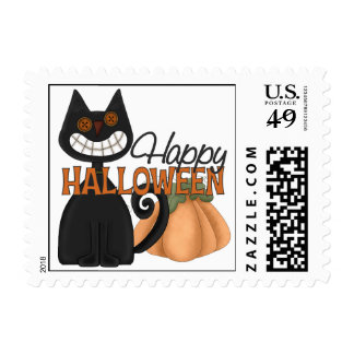 Happy Halloween Cat Stamp