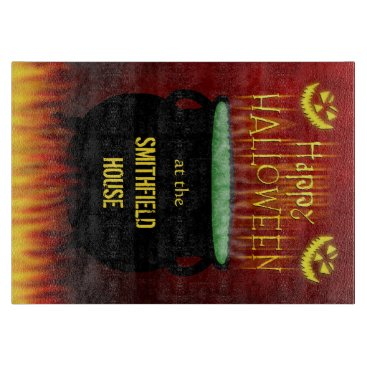 Halloween Themed Happy Halloween Cauldron Fire Personalized Cutting Board