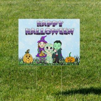 Happy Halloween Children in Costumes Sign