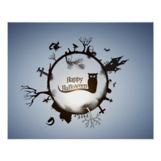 Happy Halloween Circle Posters
