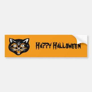 Happy Halloween Classic Black Cat Face on Orange Bumper Sticker