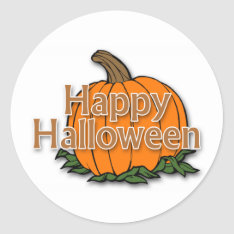 Happy Halloween Classic Round Sticker at Zazzle