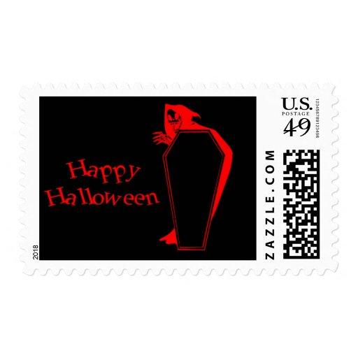 Happy Halloween Coffin grim reaper Stamps