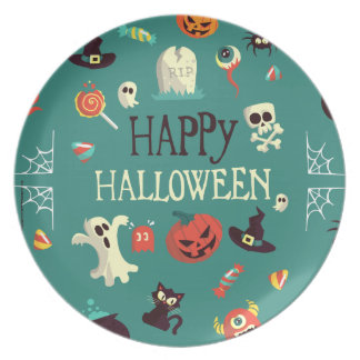 Happy Halloween  Colorful Pattern Dinner Plate