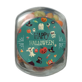 Happy Halloween  Colorful Pattern Glass Candy Jar