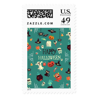 Happy Halloween  Colorful Pattern Postage