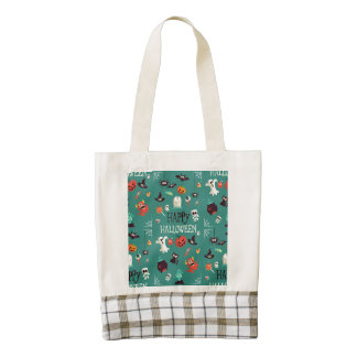 Happy Halloween  Colorful Pattern Zazzle HEART Tote Bag
