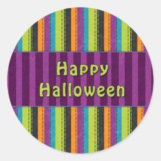 Happy Halloween - Colorful Striped Design Classic Round Sticker