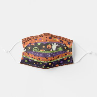 Happy Halloween Colorful Stripes Cloth Face Mask
