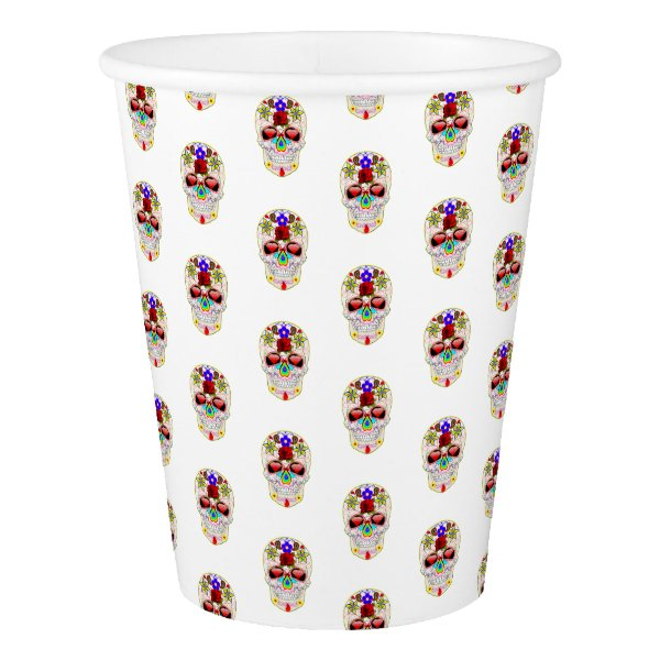 Happy Halloween Colorful Sugar Skull Paper Cup