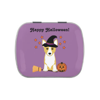 Happy Halloween Corgi Witch Jelly Belly Candy Tins