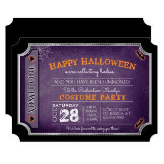 Happy Halloween Costume Party Ticket Invitations
