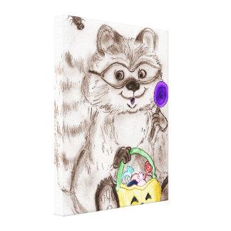 Happy Halloween Costumed Raccoon Canvas Print