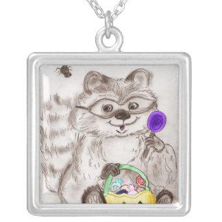 Happy Halloween Costumed Raccoon Square Pendant Necklace